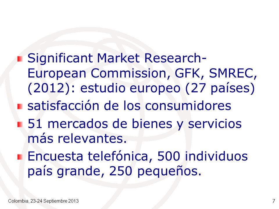 Significant Market Research- European Commission, GFK, SMREC, (2012): estudio europeo (27 países) satisfacción de los consumidores 51 mercados de bienes y servicios más relevantes.