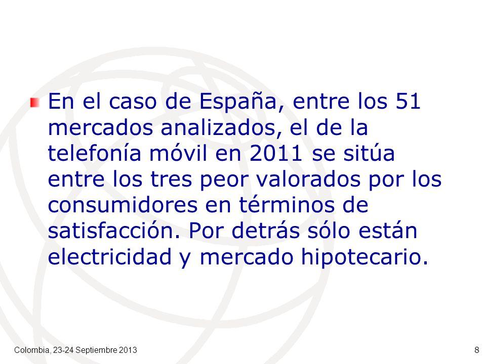 En el caso de España, entre los 51 mercados analizados, el de la telefonía móvil en 2011 se sitúa entre los tres peor valorados por los consumidores en términos de satisfacción.