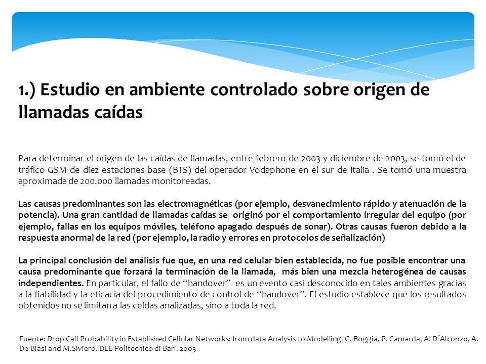 1.) Estudio en ambiente controlado sobre origen de llamadas caídas Para determinar el origen de las caídas de llamadas, entre febrero de 2003 y diciem