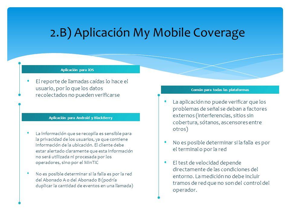 2.B) Aplicación My Mobile Coverage El reporte de llamadas caídas lo hace el usuario, por lo que los datos recolectados no pueden verificarse Aplicació