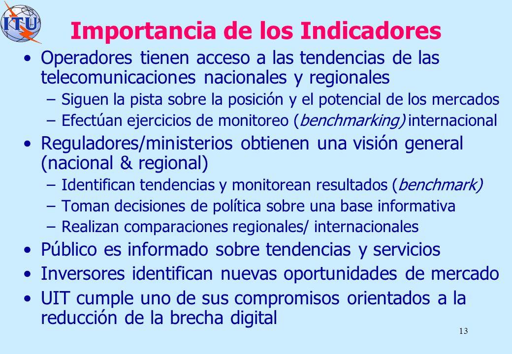 13 Importancia de los Indicadores Operadores tienen acceso a las tendencias de las telecomunicaciones nacionales y regionales –Siguen la pista sobre l