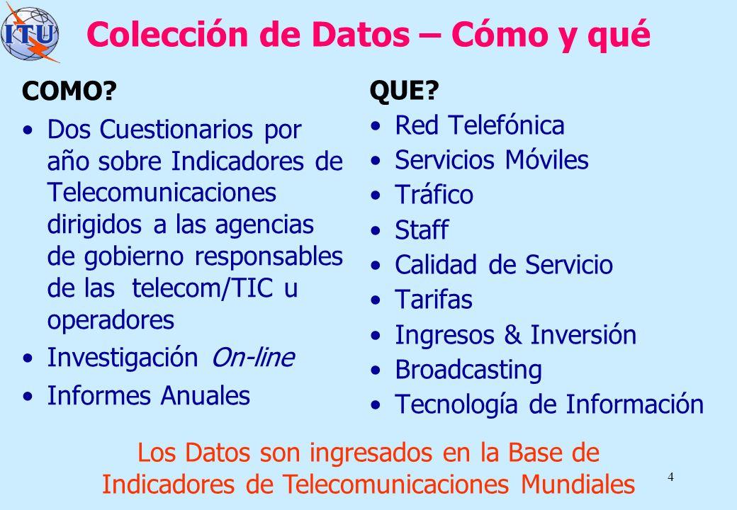 4 Colección de Datos – Cómo y qué COMO? Dos Cuestionarios por año sobre Indicadores de Telecomunicaciones dirigidos a las agencias de gobierno respons