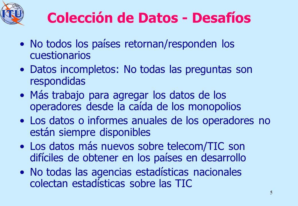 5 Colección de Datos - Desafíos No todos los países retornan/responden los cuestionarios Datos incompletos: No todas las preguntas son respondidas Más