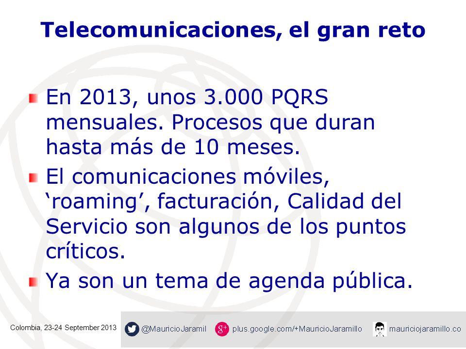 Telecomunicaciones, el gran reto En 2013, unos 3.000 PQRS mensuales. Procesos que duran hasta más de 10 meses. El comunicaciones móviles,roaming, fact