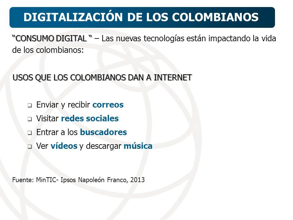 CONSUMO DIGITAL CONSUMO DIGITAL – Las nuevas tecnologías están impactando la vida de los colombianos: USOS QUE LOS COLOMBIANOS DAN A INTERNET Enviar y recibir correos Visitar redes sociales Entrar a los buscadores Ver vídeos y descargar música Fuente: MinTIC- Ipsos Napoleón Franco, 2013 Fuente: MinTIC, 2012.