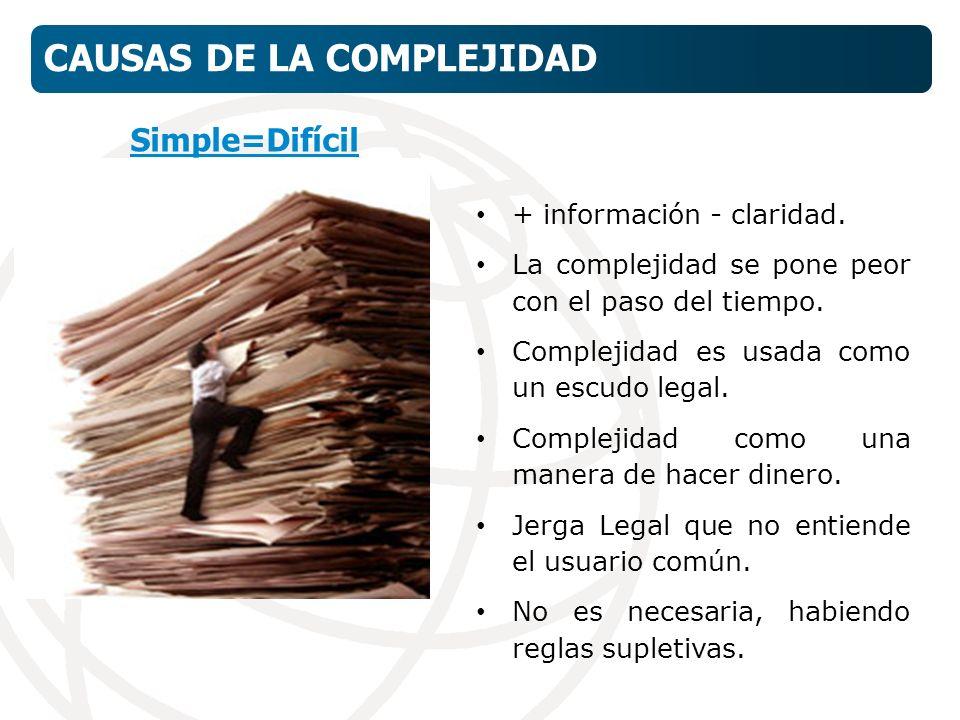 + información - claridad. La complejidad se pone peor con el paso del tiempo.