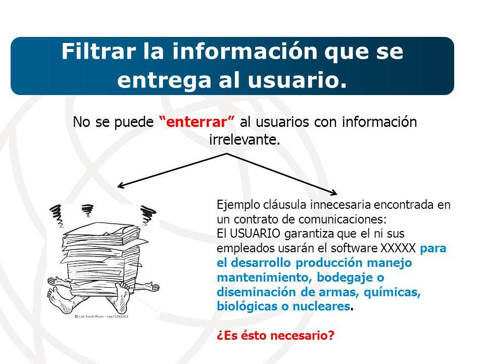 Filtrar la información que se entrega al usuario.