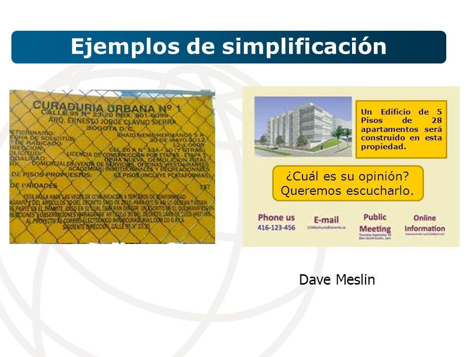 Ejemplos de simplificación Dave Meslin Un Edificio de 5 Pisos de 28 apartamentos será construido en esta propiedad.