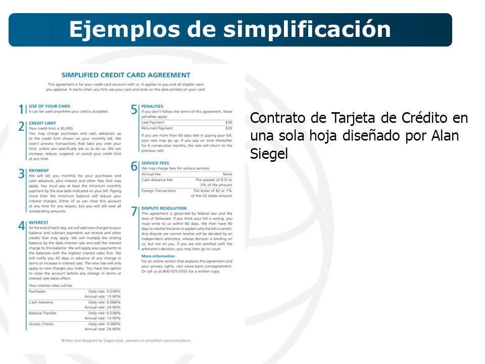 Contrato de Tarjeta de Crédito en una sola hoja diseñado por Alan Siegel Ejemplos de simplificación