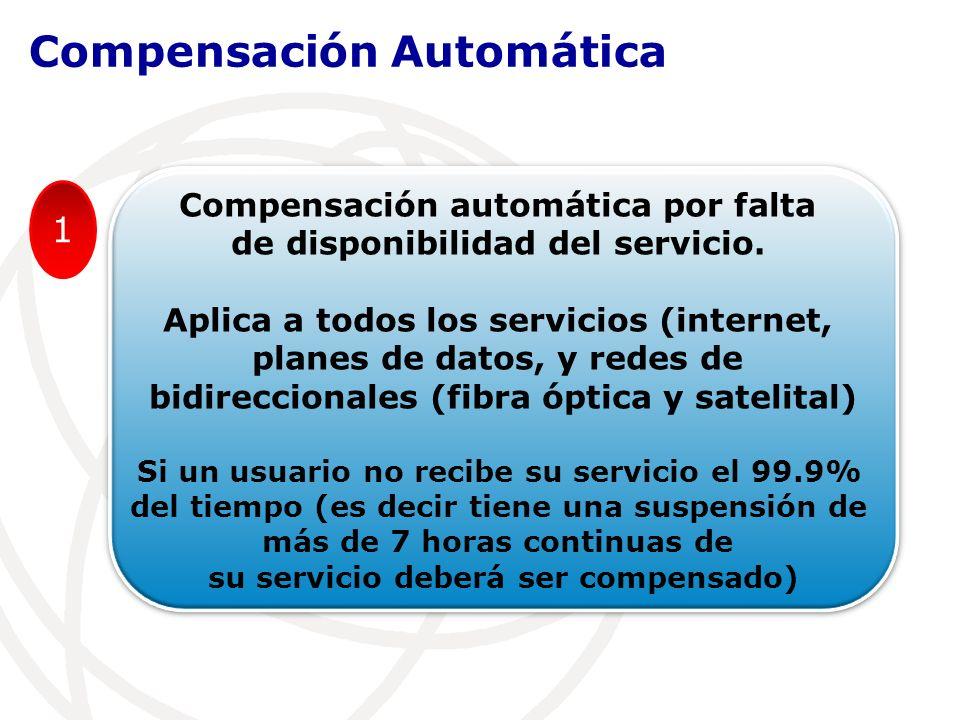 Compensación automática por falta de disponibilidad del servicio.