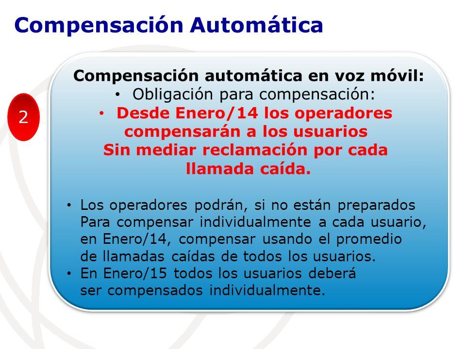 Compensación automática en voz móvil: Obligación para compensación: Desde Enero/14 los operadores compensarán a los usuarios Sin mediar reclamación por cada llamada caída.