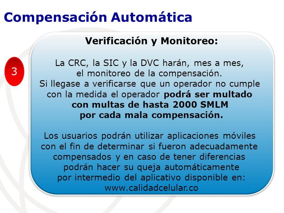 Verificación y Monitoreo: La CRC, la SIC y la DVC harán, mes a mes, el monitoreo de la compensación.