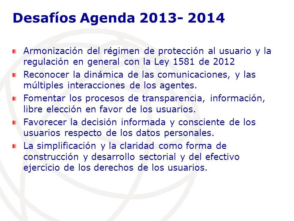Armonización del régimen de protección al usuario y la regulación en general con la Ley 1581 de 2012 Reconocer la dinámica de las comunicaciones, y las múltiples interacciones de los agentes.