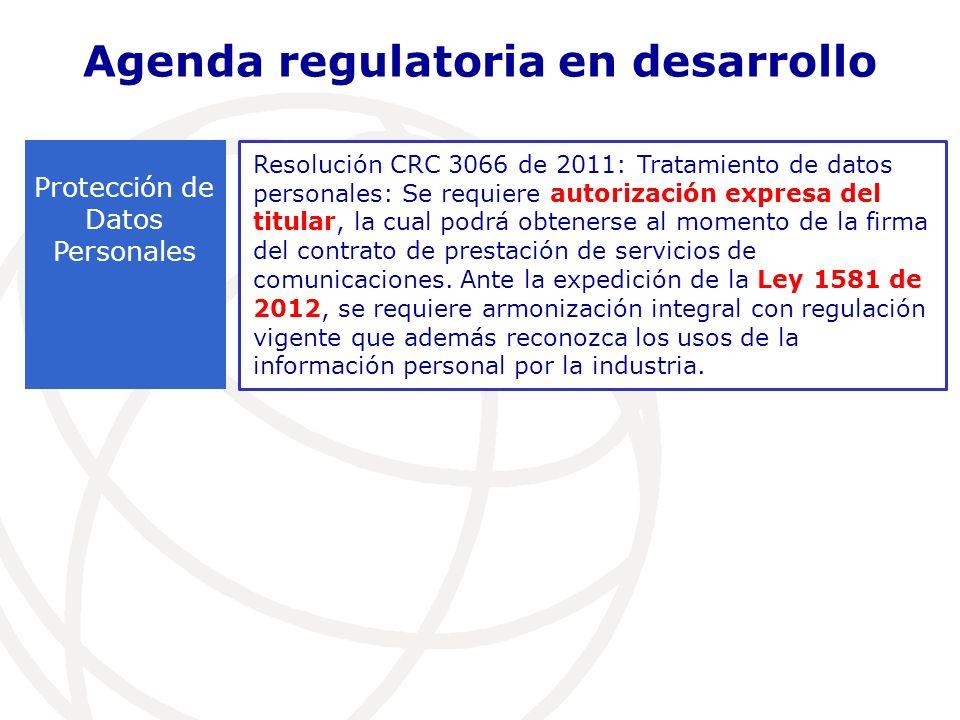Resolución CRC 3066 de 2011: Tratamiento de datos personales: Se requiere autorización expresa del titular, la cual podrá obtenerse al momento de la firma del contrato de prestación de servicios de comunicaciones.