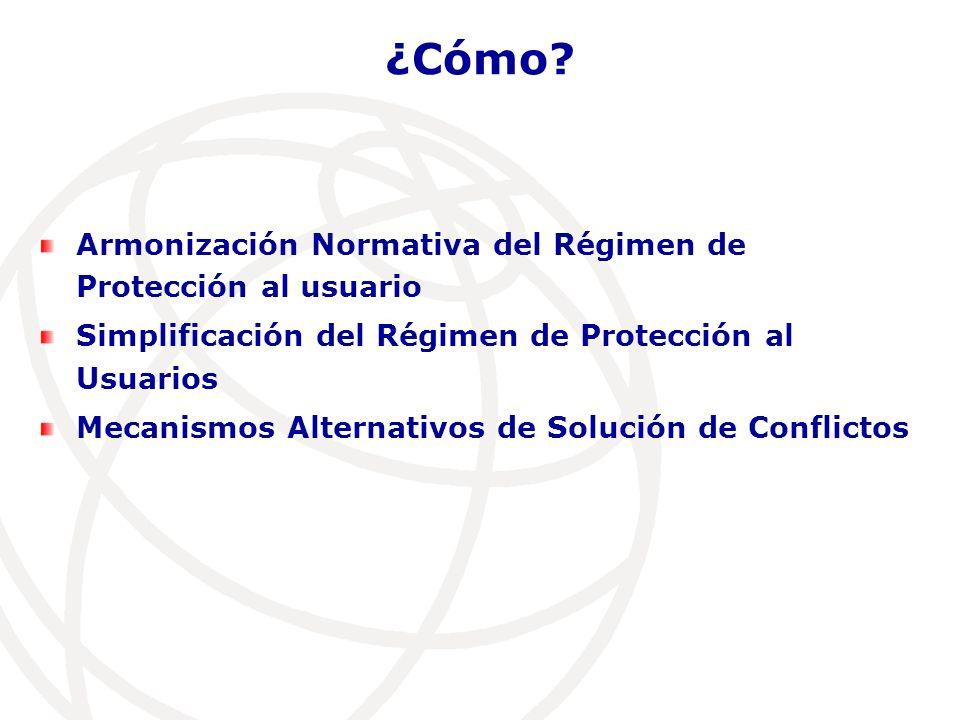 Armonización Normativa del Régimen de Protección al usuario Simplificación del Régimen de Protección al Usuarios Mecanismos Alternativos de Solución de Conflictos ¿Cómo