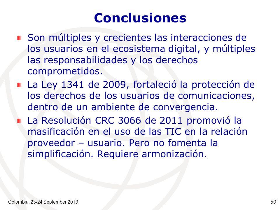 Conclusiones Son múltiples y crecientes las interacciones de los usuarios en el ecosistema digital, y múltiples las responsabilidades y los derechos comprometidos.