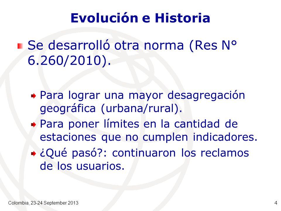 Colombia, 23-24 September 2013 4 Evolución e Historia Se desarrolló otra norma (Res N° 6.260/2010).