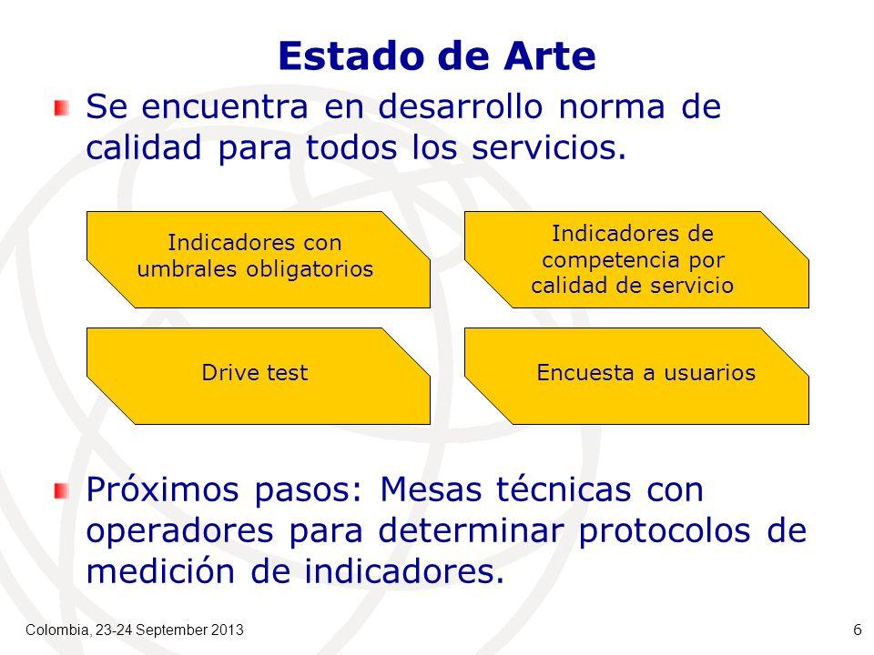 Colombia, 23-24 September 2013 6 Estado de Arte Se encuentra en desarrollo norma de calidad para todos los servicios.