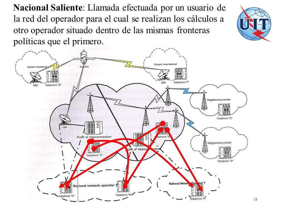 COSITU - El modelo tarifario de la UIT 18 Nacional Saliente: Llamada efectuada por un usuario de la red del operador para el cual se realizan los cálc