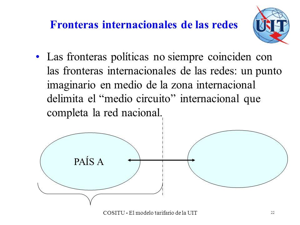 COSITU - El modelo tarifario de la UIT 22 Fronteras internacionales de las redes Las fronteras políticas no siempre coinciden con las fronteras intern