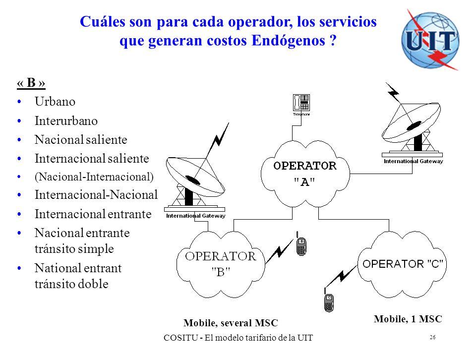 COSITU - El modelo tarifario de la UIT 26 Cuáles son para cada operador, los servicios que generan costos Endógenos ? Mobile, 1 MSC Mobile, several MS