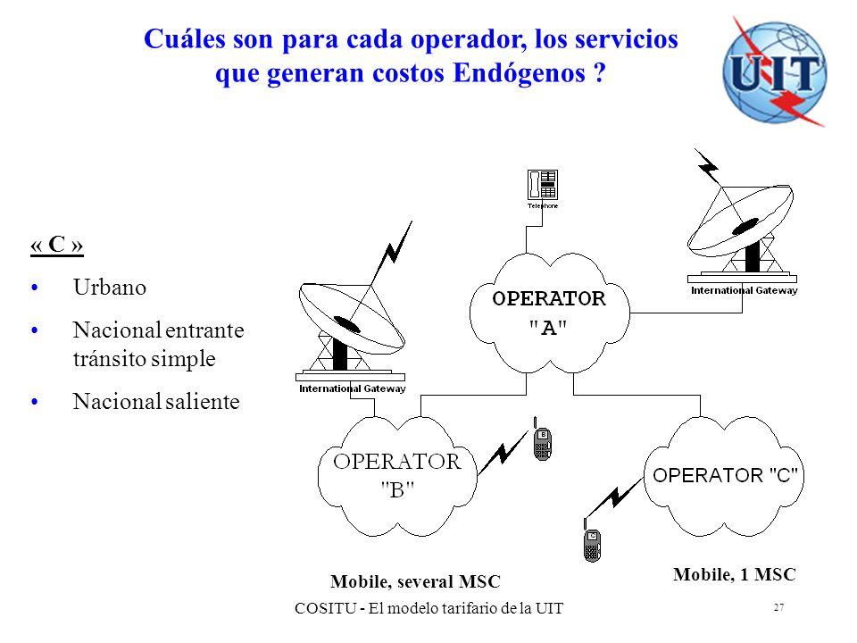 COSITU - El modelo tarifario de la UIT 27 Cuáles son para cada operador, los servicios que generan costos Endógenos ? Mobile, 1 MSC Mobile, several MS