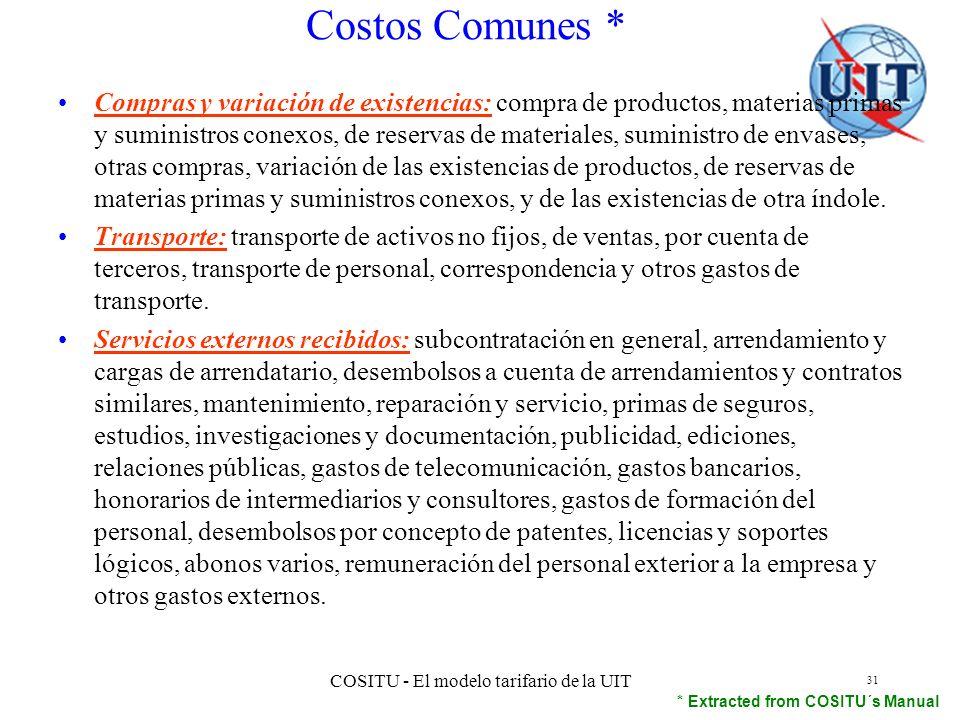 COSITU - El modelo tarifario de la UIT 31 Compras y variación de existencias: compra de productos, materias primas y suministros conexos, de reservas