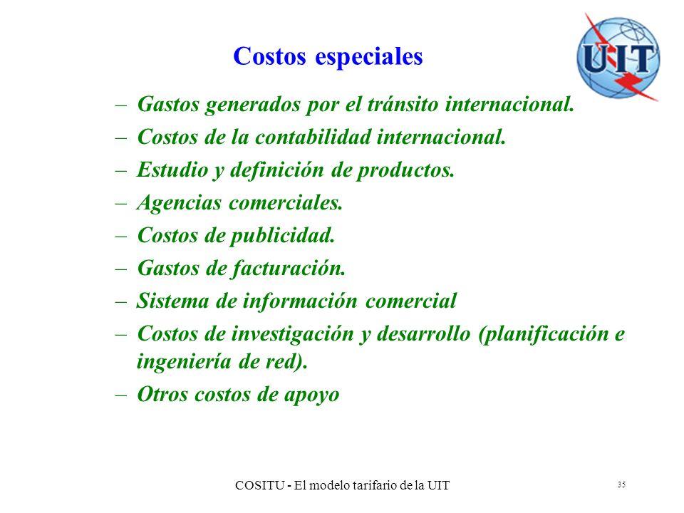 COSITU - El modelo tarifario de la UIT 35 Costos especiales –Gastos generados por el tránsito internacional. –Costos de la contabilidad internacional.