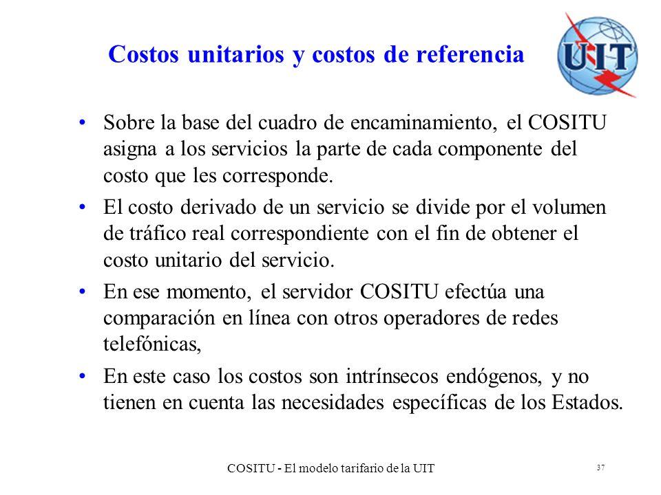 COSITU - El modelo tarifario de la UIT 37 Costos unitarios y costos de referencia Sobre la base del cuadro de encaminamiento, el COSITU asigna a los s