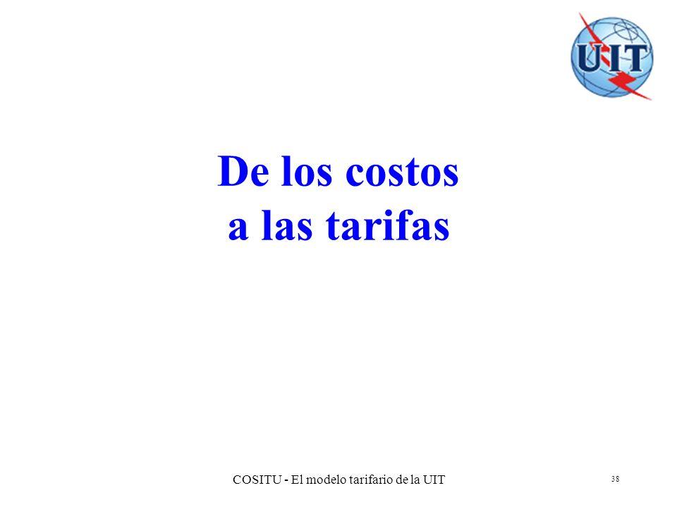 COSITU - El modelo tarifario de la UIT 38 De los costos a las tarifas