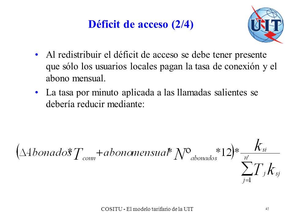 COSITU - El modelo tarifario de la UIT 45 Déficit de acceso (2/4) Al redistribuir el déficit de acceso se debe tener presente que sólo los usuarios lo