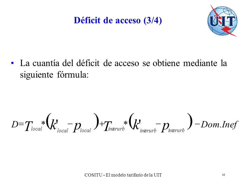 COSITU - El modelo tarifario de la UIT 46 Déficit de acceso (3/4) La cuantía del déficit de acceso se obtiene mediante la siguiente fórmula: Dom.InefD