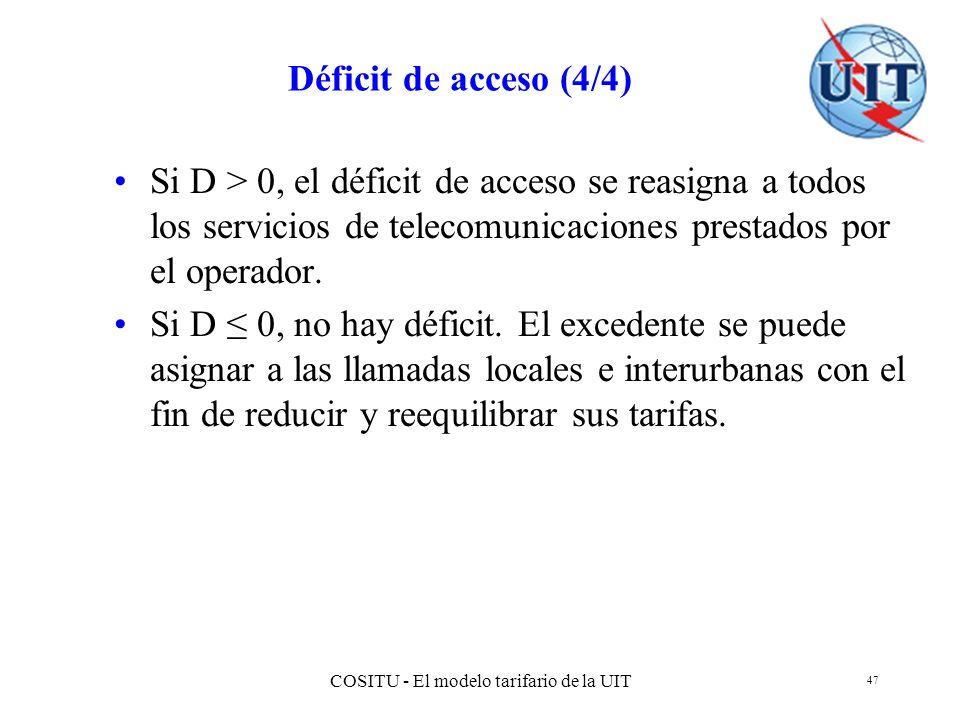 COSITU - El modelo tarifario de la UIT 47 Déficit de acceso (4/4) Si D > 0, el déficit de acceso se reasigna a todos los servicios de telecomunicacion