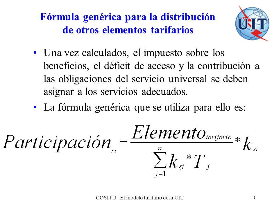 COSITU - El modelo tarifario de la UIT 48 Fórmula genérica para la distribución de otros elementos tarifarios Una vez calculados, el impuesto sobre lo