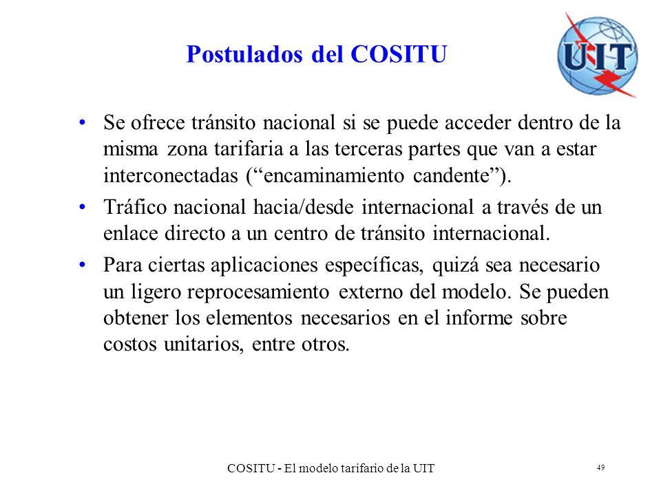COSITU - El modelo tarifario de la UIT 49 Postulados del COSITU Se ofrece tránsito nacional si se puede acceder dentro de la misma zona tarifaria a la