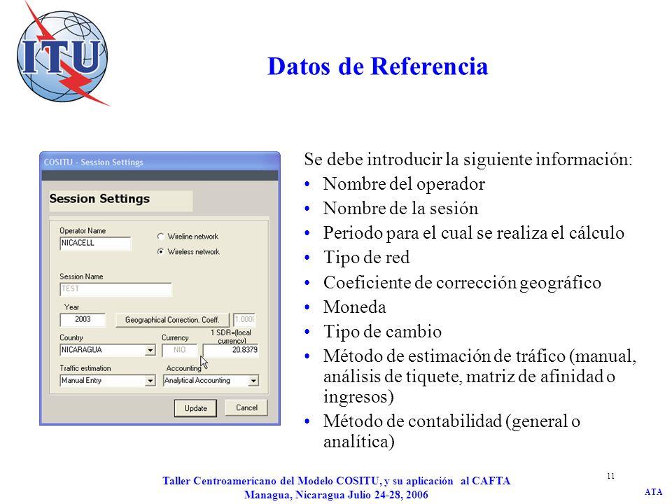 ATA Taller Centroamericano del Modelo COSITU, y su aplicación al CAFTA Managua, Nicaragua Julio 24-28, 2006 11 Datos de Referencia Se debe introducir