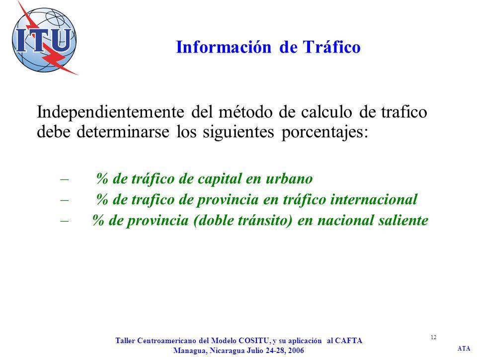 ATA Taller Centroamericano del Modelo COSITU, y su aplicación al CAFTA Managua, Nicaragua Julio 24-28, 2006 12 Información de Tráfico Independientemen
