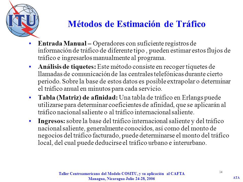 ATA Taller Centroamericano del Modelo COSITU, y su aplicación al CAFTA Managua, Nicaragua Julio 24-28, 2006 14 Métodos de Estimación de Tráfico Entrad