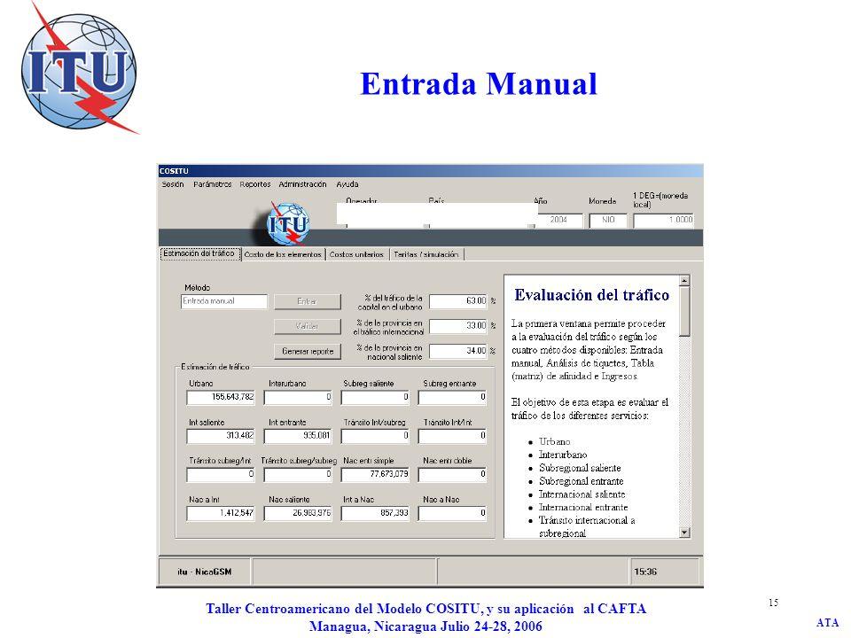 ATA Taller Centroamericano del Modelo COSITU, y su aplicación al CAFTA Managua, Nicaragua Julio 24-28, 2006 15 Entrada Manual
