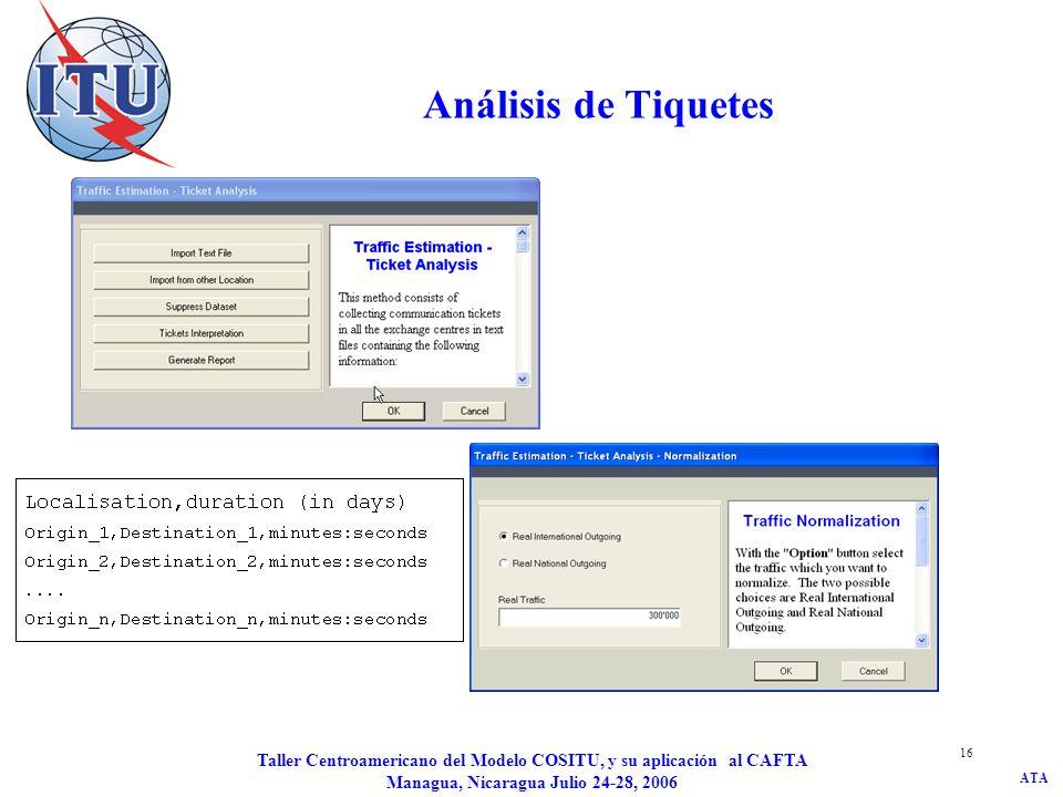 ATA Taller Centroamericano del Modelo COSITU, y su aplicación al CAFTA Managua, Nicaragua Julio 24-28, 2006 16 Análisis de Tiquetes
