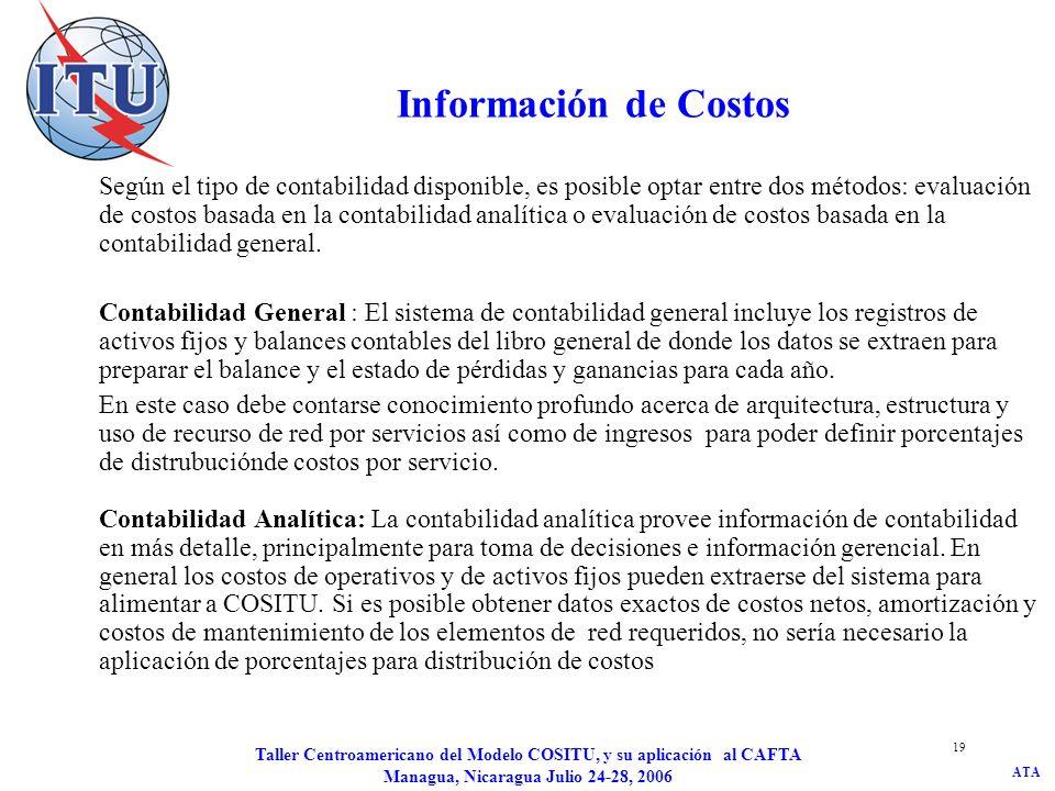 ATA Taller Centroamericano del Modelo COSITU, y su aplicación al CAFTA Managua, Nicaragua Julio 24-28, 2006 19 Información de Costos Según el tipo de