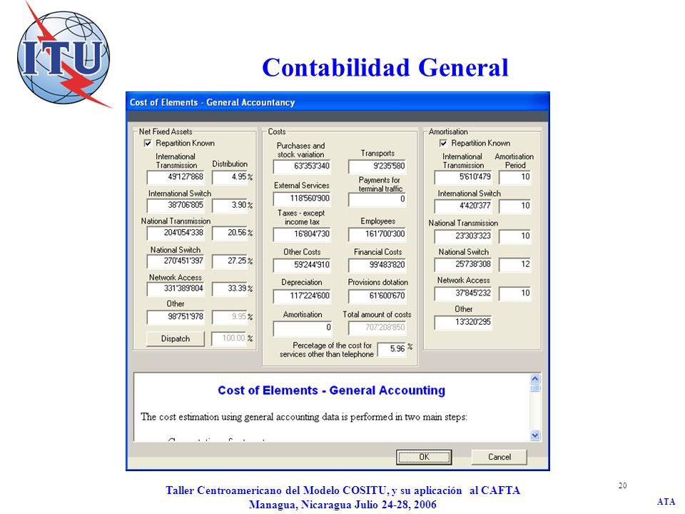 ATA Taller Centroamericano del Modelo COSITU, y su aplicación al CAFTA Managua, Nicaragua Julio 24-28, 2006 20 Contabilidad General