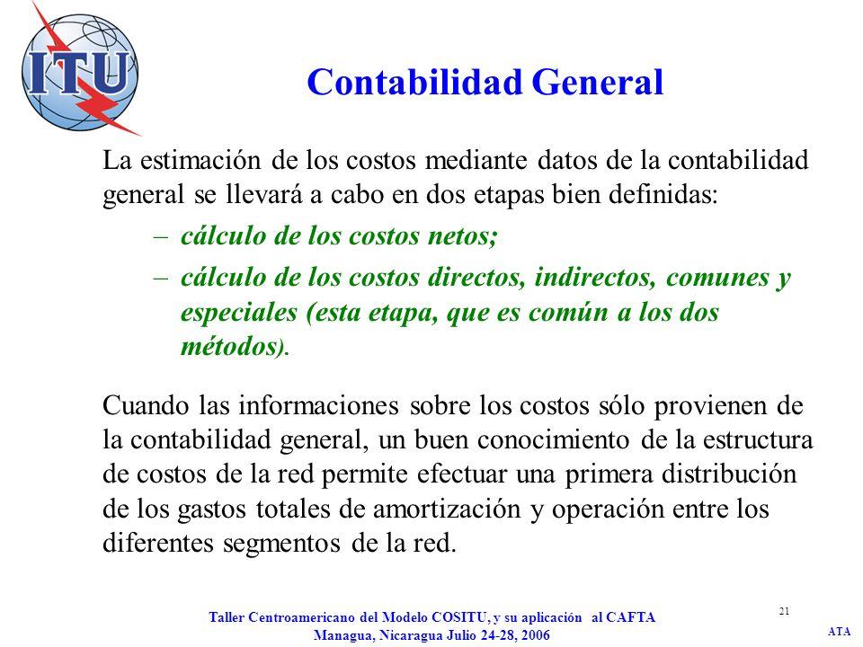 ATA Taller Centroamericano del Modelo COSITU, y su aplicación al CAFTA Managua, Nicaragua Julio 24-28, 2006 21 Contabilidad General La estimación de l