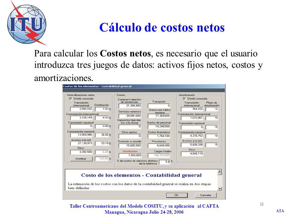 ATA Taller Centroamericano del Modelo COSITU, y su aplicación al CAFTA Managua, Nicaragua Julio 24-28, 2006 22 Cálculo de costos netos Para calcular l
