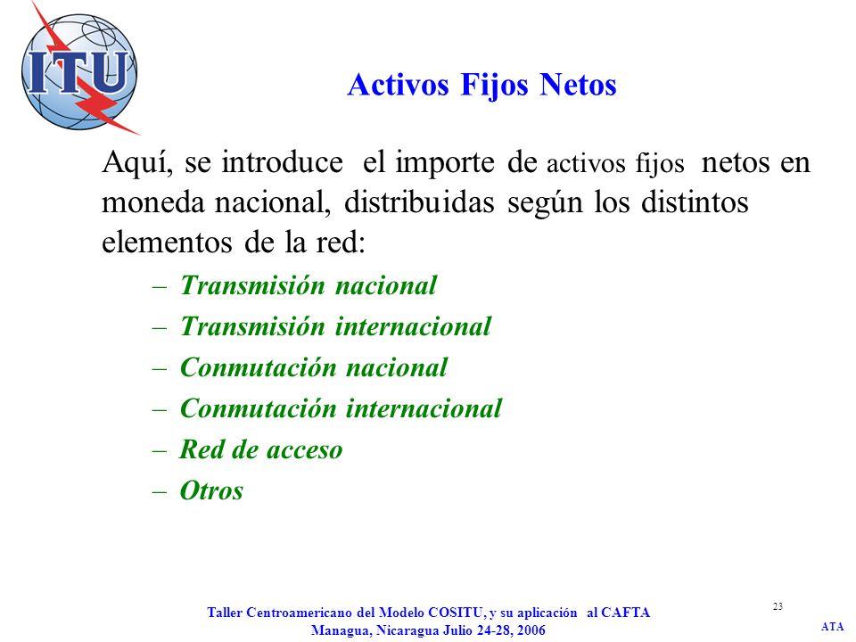 ATA Taller Centroamericano del Modelo COSITU, y su aplicación al CAFTA Managua, Nicaragua Julio 24-28, 2006 23 Activos Fijos Netos Aquí, se introduce