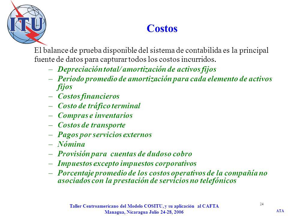 ATA Taller Centroamericano del Modelo COSITU, y su aplicación al CAFTA Managua, Nicaragua Julio 24-28, 2006 24 Costos El balance de prueba disponible