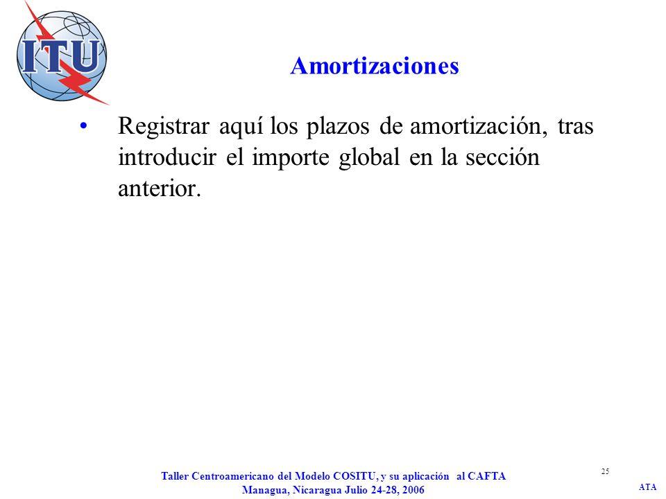ATA Taller Centroamericano del Modelo COSITU, y su aplicación al CAFTA Managua, Nicaragua Julio 24-28, 2006 25 Amortizaciones Registrar aquí los plazo