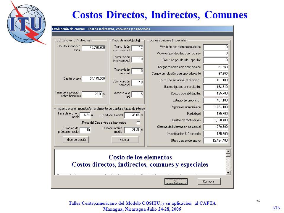 ATA Taller Centroamericano del Modelo COSITU, y su aplicación al CAFTA Managua, Nicaragua Julio 24-28, 2006 26 Costos Directos, Indirectos, Comunes y
