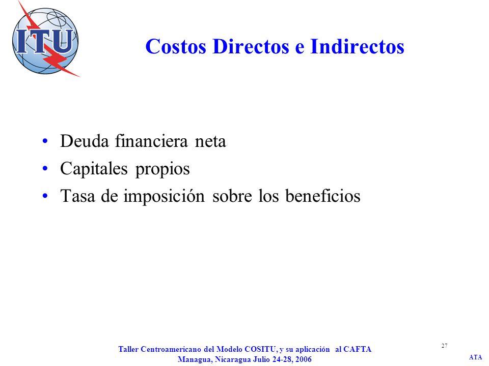 ATA Taller Centroamericano del Modelo COSITU, y su aplicación al CAFTA Managua, Nicaragua Julio 24-28, 2006 27 Costos Directos e Indirectos Deuda fina