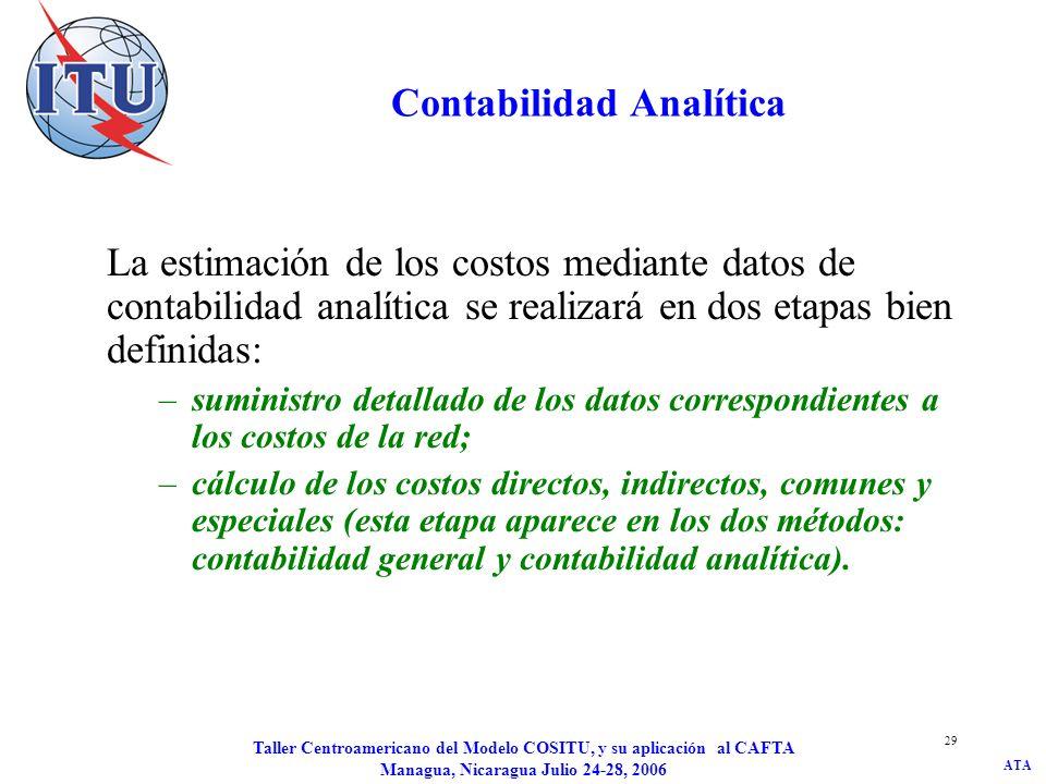 ATA Taller Centroamericano del Modelo COSITU, y su aplicación al CAFTA Managua, Nicaragua Julio 24-28, 2006 29 Contabilidad Analítica La estimación de